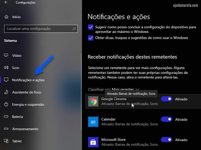 Configurações notificações e ações Google Chrome Windows