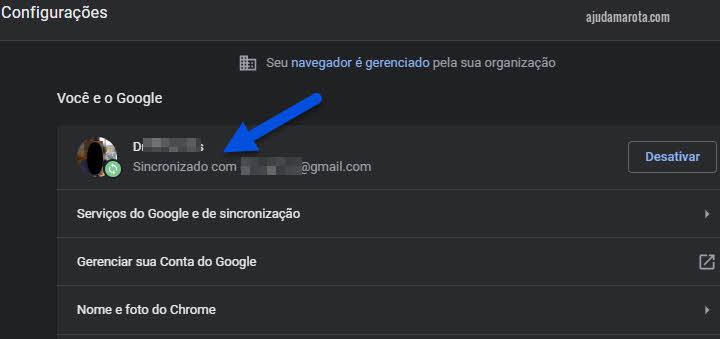Sinronizar conta do Google no Chrome para corrigir Enviar para Dispositivo