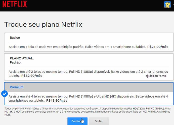 Troque seu plano Netflix, básico, padrão, premium