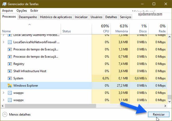 Reiniciar Explorador de Arquivos pelo Gerenciador de Tarefas Windows