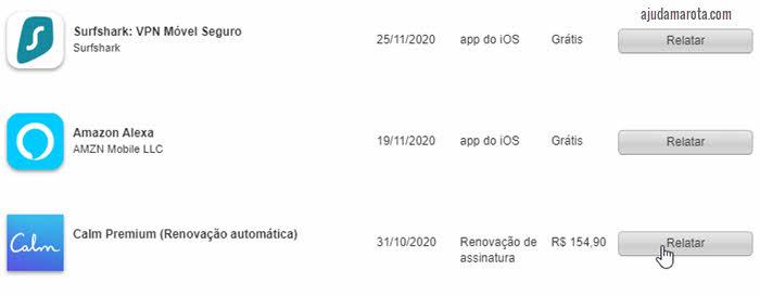 Relatar, informar problema, compras AppStore Apple