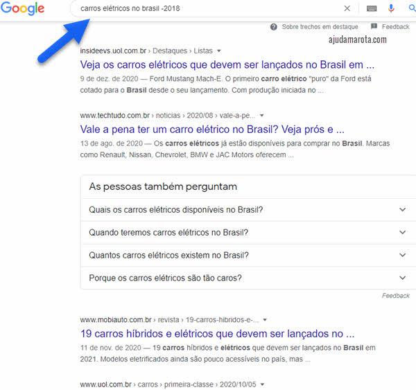 Como fazer uma busca no Google e excluir um termo específico usando sinal de menos