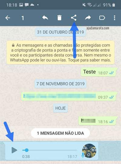 Selecionar mensagem de áudio no WhatsApp para compartilhar