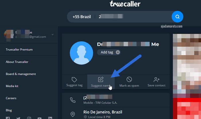 Mudar nome do Truecaller pelo site