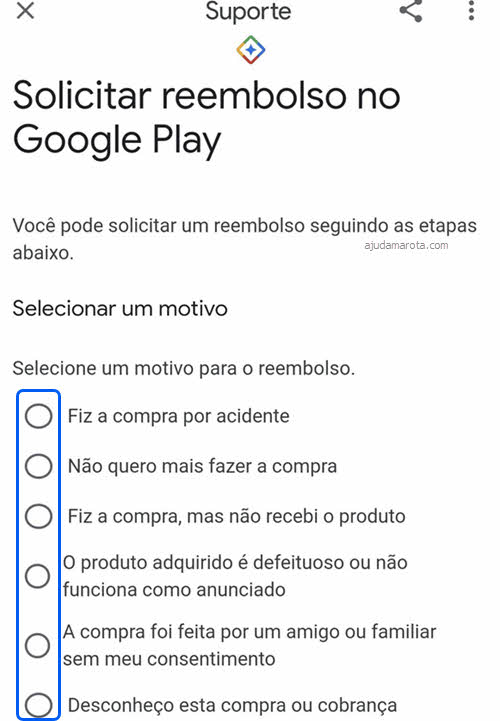 Selecionar motivo para reembolso de aplicativo Google Play Android