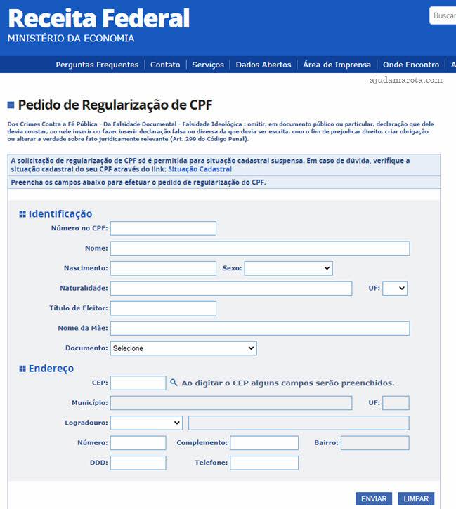 Como regularizar CPF pelo site da Receita Federal