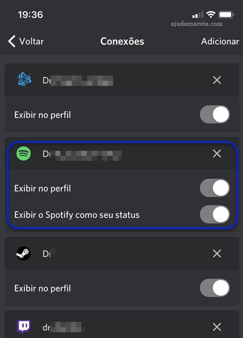 Conectar Spotify com Discord para escutar música junto