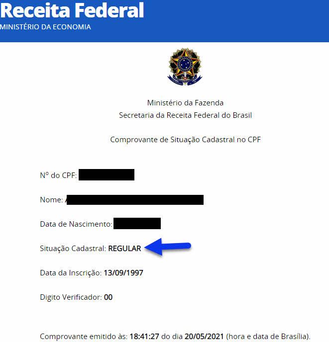 situação cadastral do CPF site Receita Federal