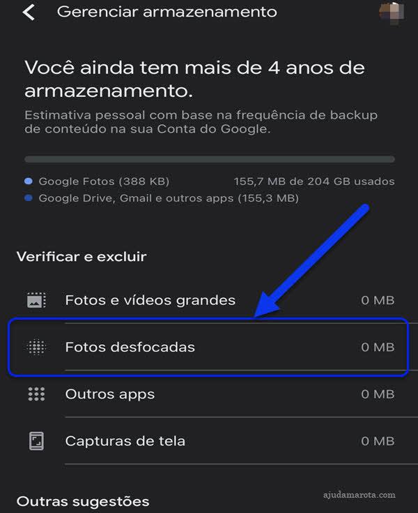 Etapas para apagar fotos desfocadas do Google Fotos pelo aplicativo