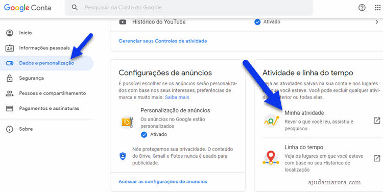 dados e personalização, minha atividade Google