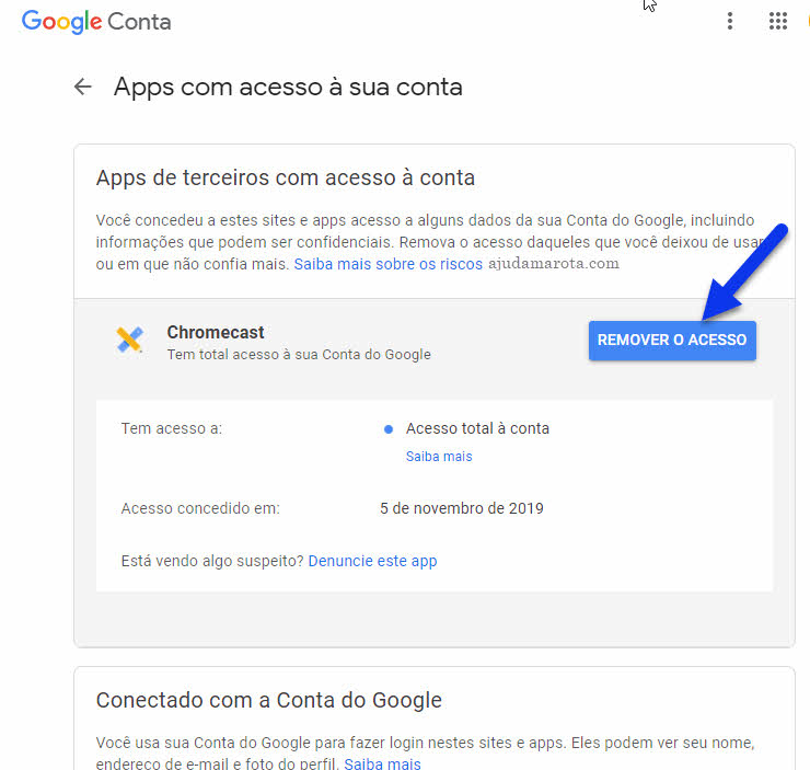 Remover acesso de apps e serviços da conta Google