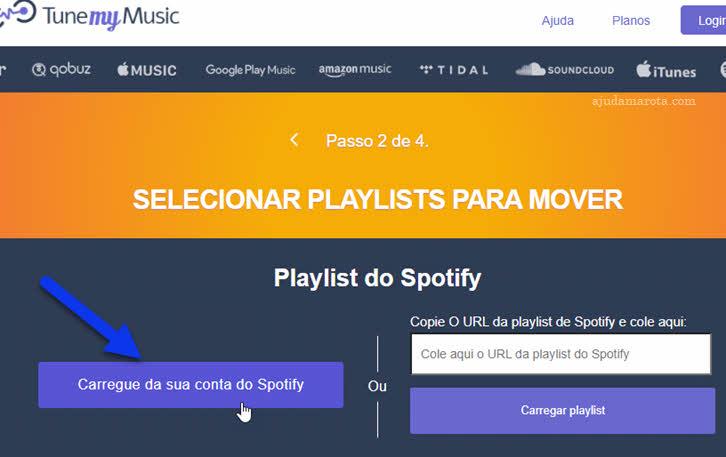 Carregue da sua conta do Spotify playslists Tune My Music