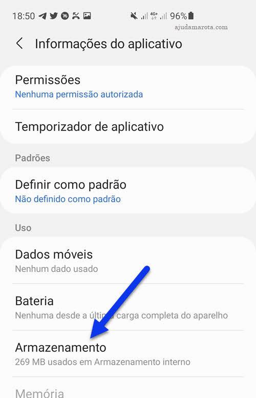configurações de aplicativo Android armazenamento