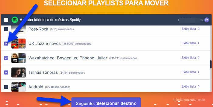 Selecionar playlists Spotify para transferir para Apple Music TuneMyMusic