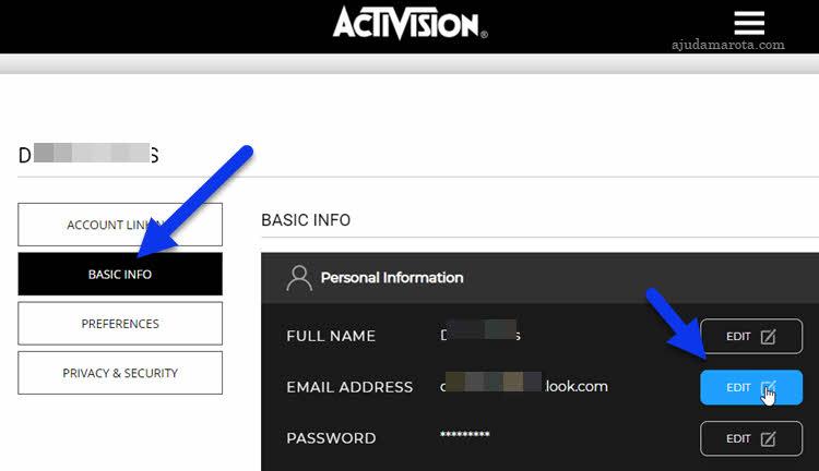 Como trocar senha ou email da Activision