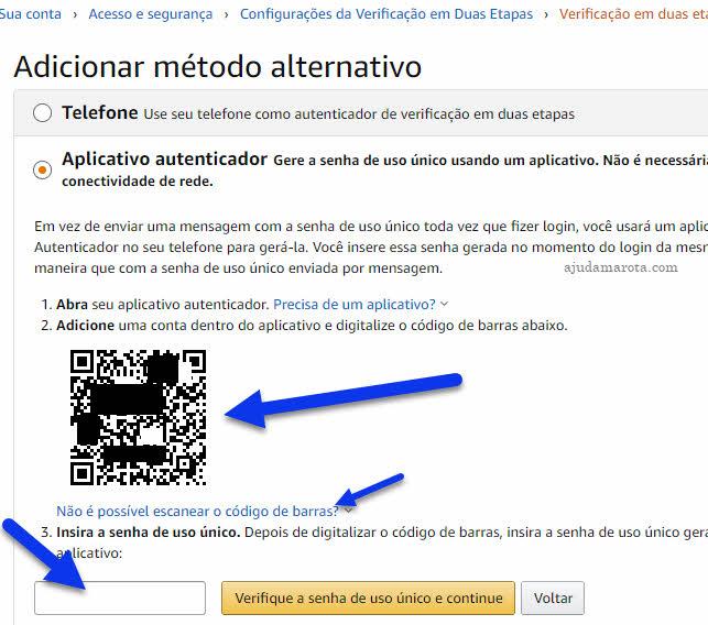 Adicionar aplicativo autenticador na conta Amazon para gerar códigos de segurança