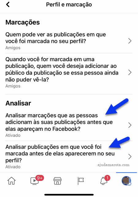 Analisar marcações e publicações em que for marcado no Facebook app celular