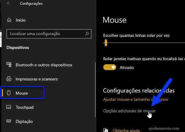 Configurações Mouse, opções adicionais de mouse Windows