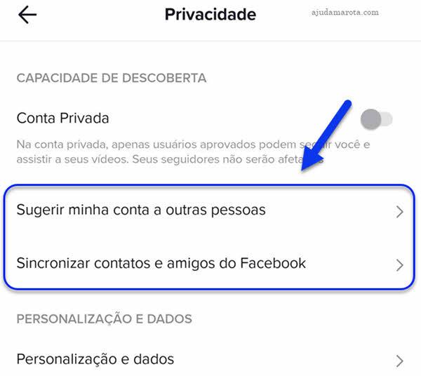 TikTok privacidade, Sugerir minha conta, Sincronizar contatos amigos Facebook